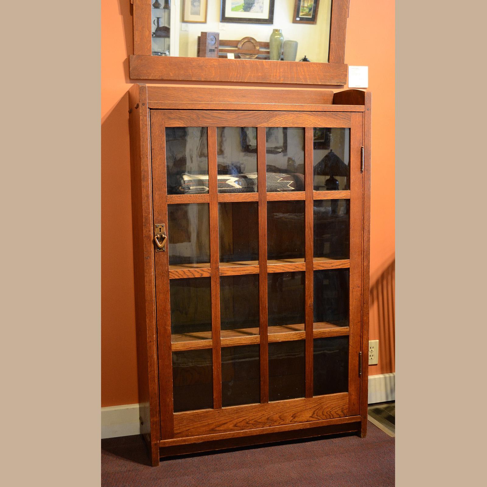 Gustav Stickley Single Door Bookcase #715 For Sale